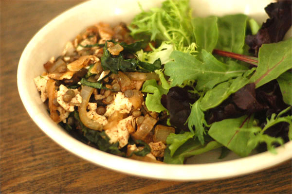 Tofu-lentil-salad