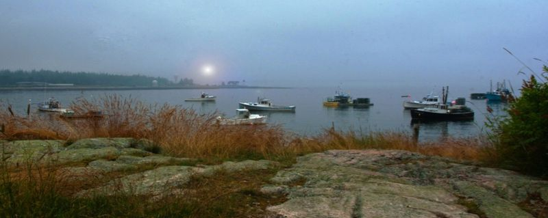 Lobsterboats in Sun Fog in Maine