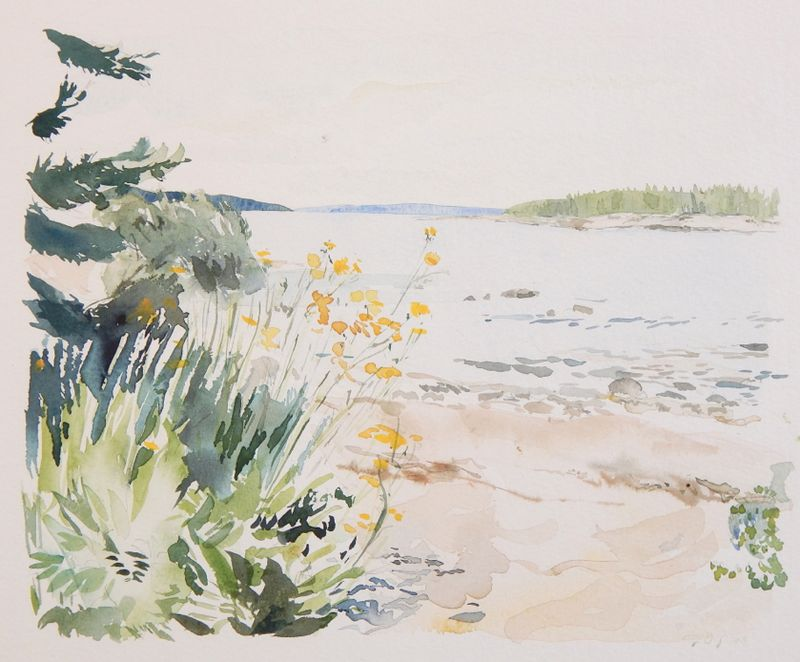 Wonderland Beach with Yellow Flowers by Emily Dodge